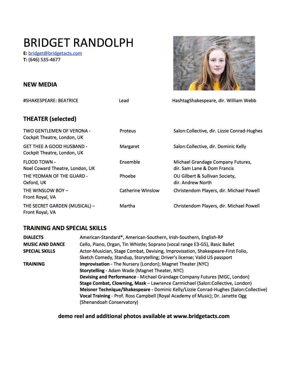 Bridget Randolph Performer CV