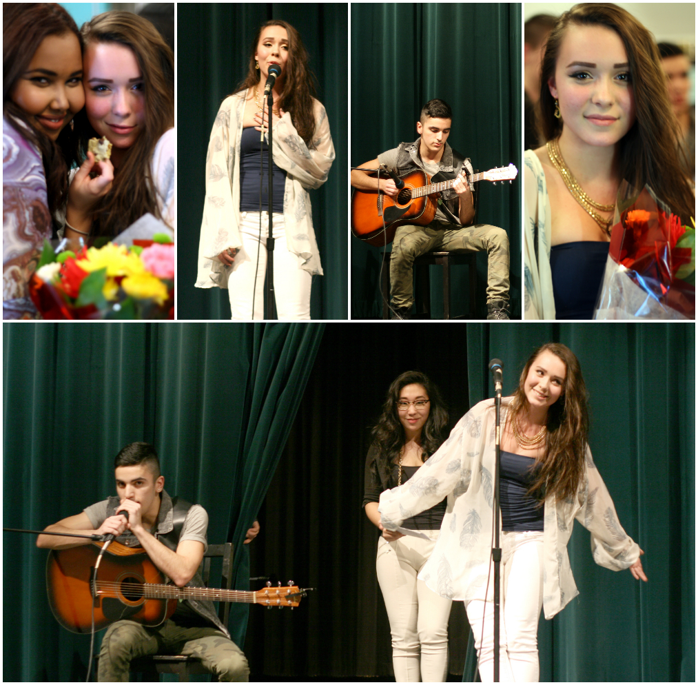 (Photos seen here were taken by me. Her friend Amal, top left, suggested the song and was the shows MC; and Juan played beautifully on guitar; and her other friend Sara seen coming through the curtains was the shows other MC)