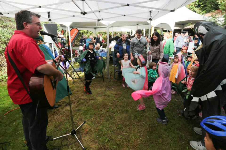 Children's entertainer, Chris Hamilton gets the crowd going at Salmon Come Home, an annual favourite event in Coquitlam.
