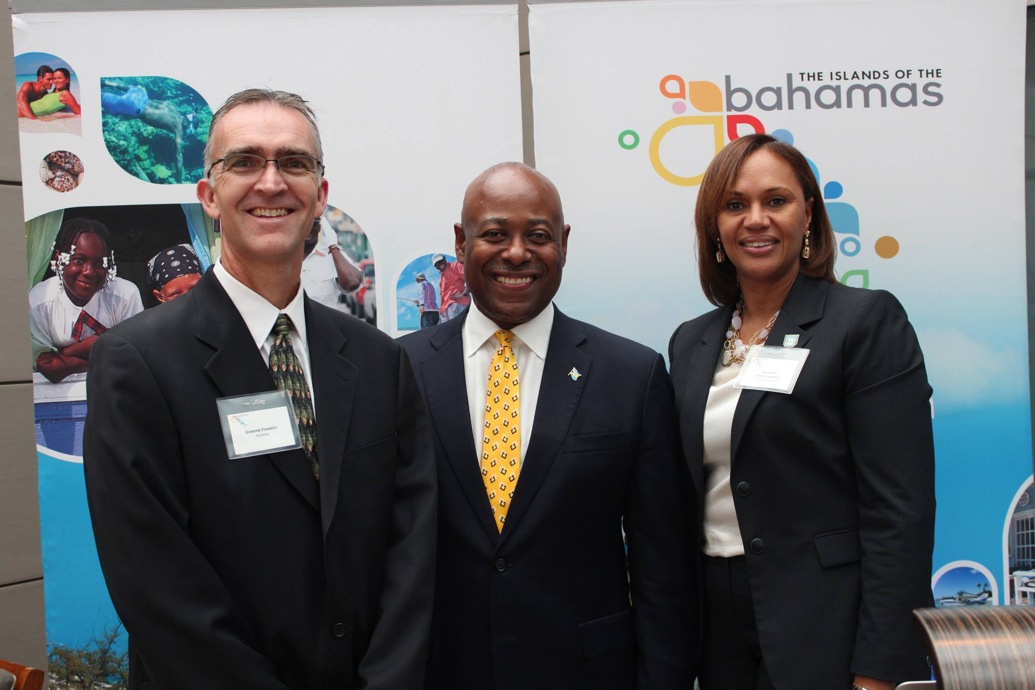 Bahamas Tourism officials visit Vancouver, Canada to Launch Sunwing direct flights . Left to right: Graeme Franklin, Sunwing Travel Group; Minister of Tourism, Obie Wilchcombe; and Director General of Tourism, Joy Jibrilu. (Photo: Robbin Whachell)