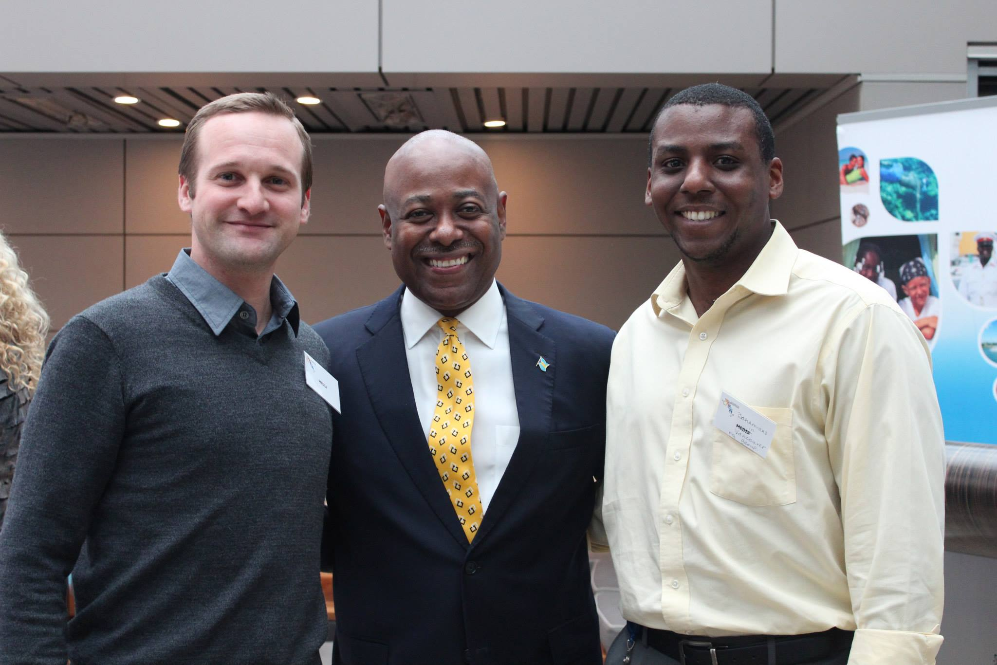 Left to right: Chris Lowe, Minister of Tourism, Bahamas, the Hon. Obie Wilchcombe; and Gareth Hanna. Lowe and Hanna started the Bahamians in Vancouver Facebook group page.