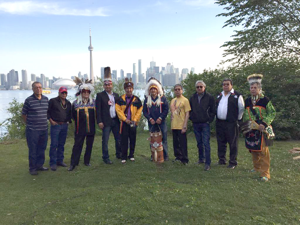 AFN National Chief Perry Bellegarde, Regional Chief Day & other leadership at Three Fires Ceremony Pan Am Games  (Twitter Photo)