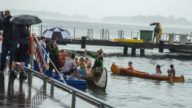 July 10: This year's torch relay was received by Chief LaForme of Mississaugas of the New Credit First Nation at Harbourfront Centre in Toronto. (Mississaugas of the New Credit First Nation )