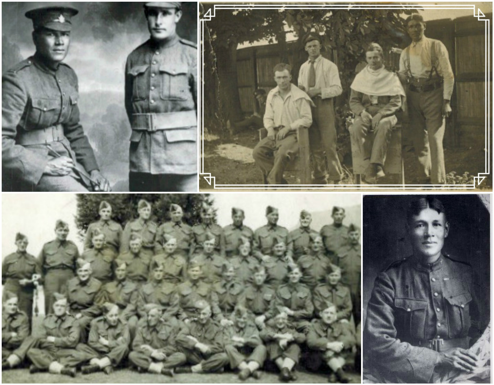 All photos seen here are from World War I, except for the bottom left, which is the Canadian Veteran Reserves. My great-grandfather, Frederick Primeau is seen standing second-left. The barber photo is actually a W.W. 1 'postcard'. Primeau is the tall man far right. He fought in Flanders Field. (Photos: Whachell/ Hinz collection)