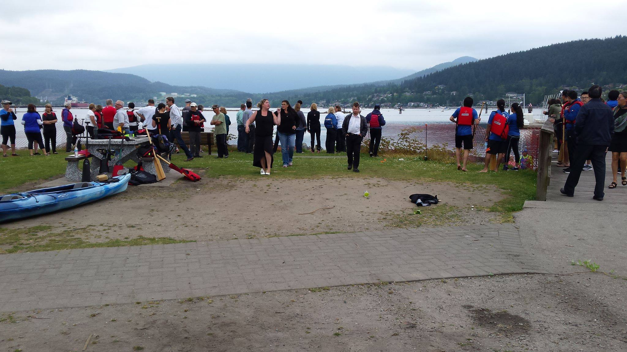 This is from the vantage point of where the car drove toward the water. People in this scene were looking down at the Toyota, but this is the direct path she took when she drove through our training warmup. Photo: Robbin Whachell