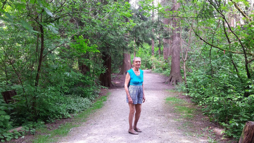 "On a warm May day in 2015 walking through Hoy Trail in Coquitlam. I took mom on a walk through the woods and she said, ""This spot is so beautiful you should take a picture."""