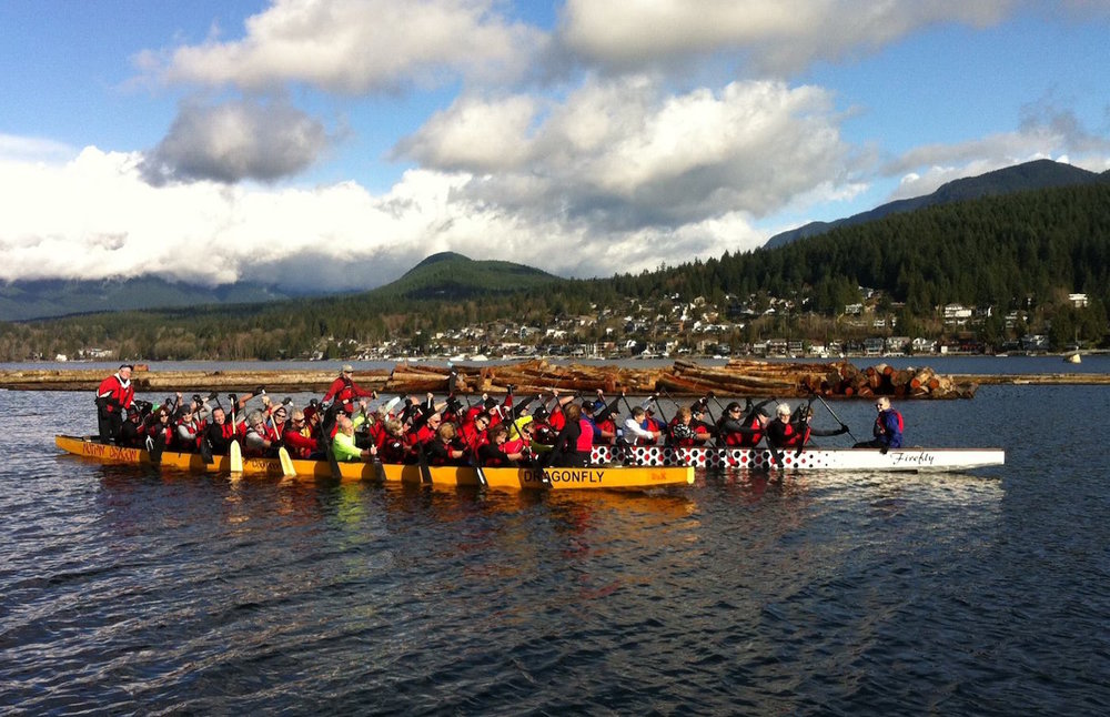 Burrard Inlet is enjoyed by the public. People kayak, canoe, row, and dragon boat along the waterway. This is my dragon boat team, the Nothin' Dragon Masters. (Photo: Erica McCarthur))
