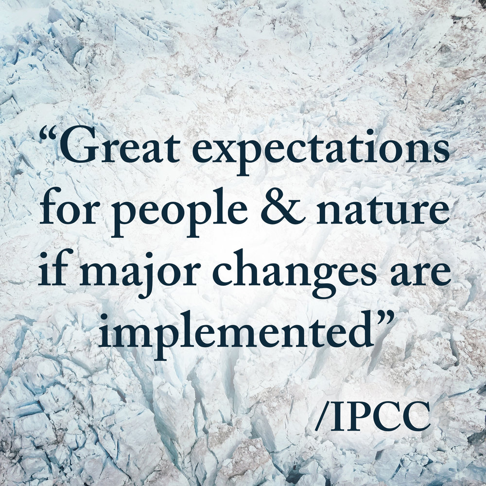 Oct 16, 2018.    IPCC   Tonight UN´s Intergovernmental Panel on Climate Change (IPCC) report was released. The report is an important foundation for this year's major international climate meeting, COP 24. This is science becoming politics. THEM has not (yet) the abilities to push the world´s political decision makers. But we have all necessary tools to implement policies and strategies into real change making products, systems and services that are beneficial to both people, planet and your profit.