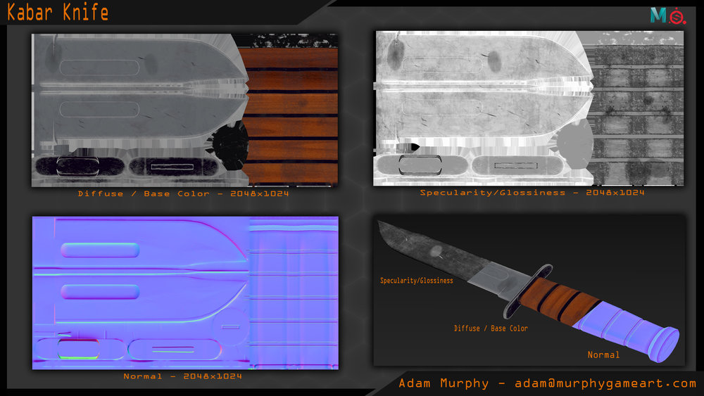 Render of the maps used for this asset. The knife utilizes a 2048x1024 texture because it is intended to withstand close up scrutiny by the player/camera.