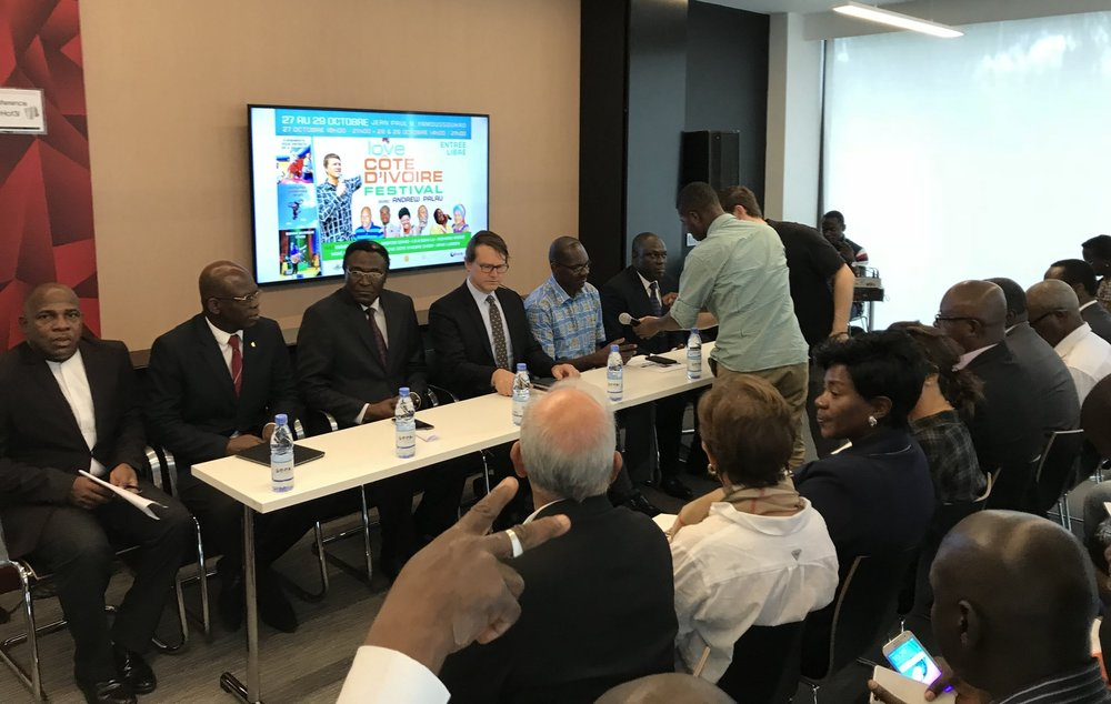 Andrew and the local festival committee at the press conference in Abidjan, Cote d'Ivoire.