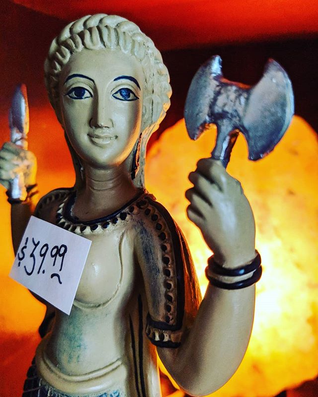 Say it with me - beeeewbs.  OK - now that that's out of my system.  Freyja is the Norse goddess of love.  She is associated with amorous love, beauty, destiny, sorcery, fertility, and war.  Freyja is a strong goddess.  If you're looking to add strength and love to your home or altar, she's your governing diety.  Come check her out, but be careful.  She has axes.  #goddess #goddessenergy #goddesses #goddessvibes #norsemythology #love #beauty #strength #fengshui #cultureshop #cultureshopping #pittsburghpa #pittsburgh #coraopolispa #coraopolis #bellevuepa #yinz #yinzer #yinzers #yinztagram #pgh #412 #sewickley #moontownship #alleghenycounty #beavercounty