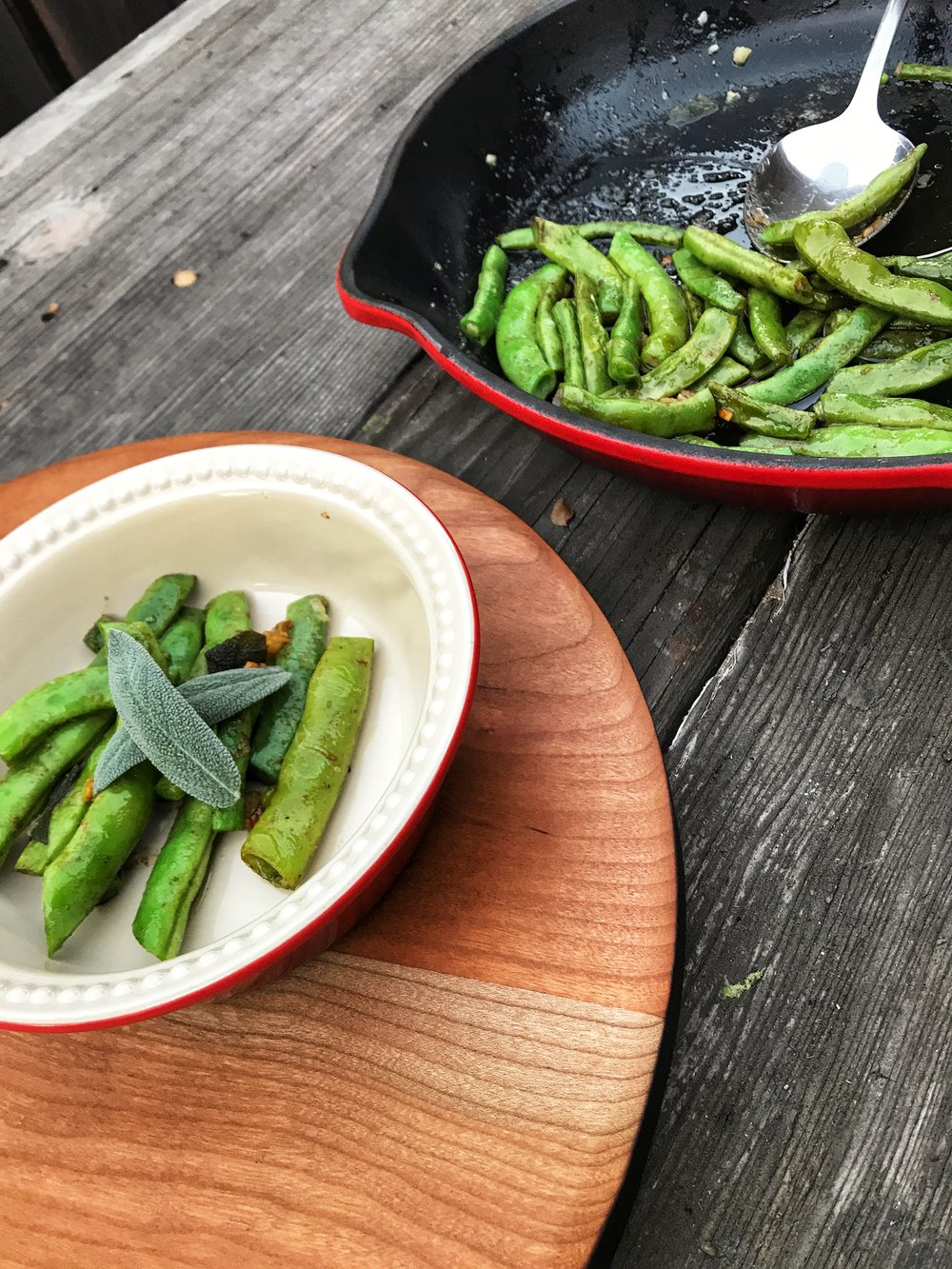 brown butter and sage green beans