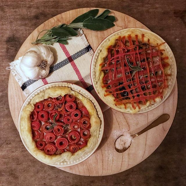 Pretty as pie. Happy pi day! Here are some savory carrot radicchio pies with a red carrot lattice and rose top. I'm not a baker, but I'm pretty proud of how these turned out! 🥧🧡❤️