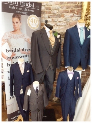 - We offer a range of children's suits in Navy, Mid blue, Charcoal & Electric blue these are £59.99 to keep and match many of our adult hire suits.All our children's suit come as a 5 piece including jacket, trousers, waistcoat, shirt & tie as a set these suit come in age sizes 1 up to 13 please call us at the shop to arrange an appointment to try and take with you.Children's Tan & Brown brogues available from size 11 -5.5Children's black patent shoes available from size 8 - 5.5