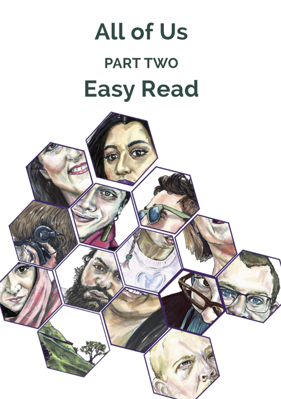 [Image description: Green text reading All of Us Part two Easy Read. Underneath the words are hexagon shapes with cropped images of people's faces inside.]