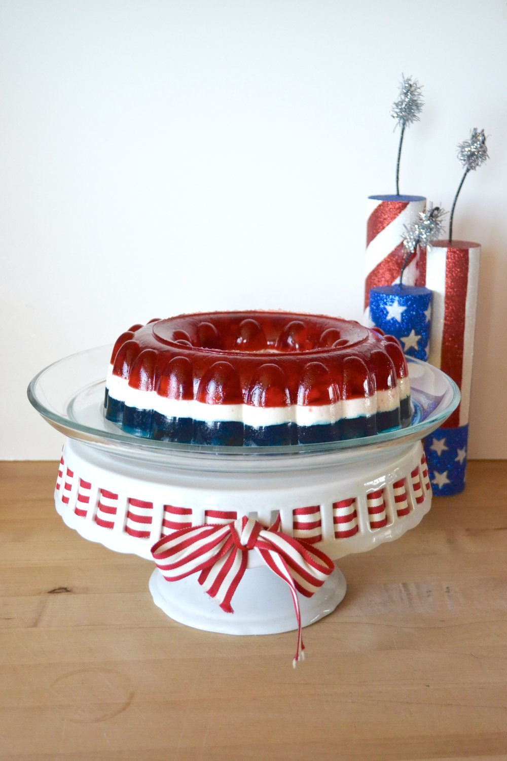 PatrioticJello Salad - Red, white, and blue gelatin layers come together into a perfect salad with the help from a mold.