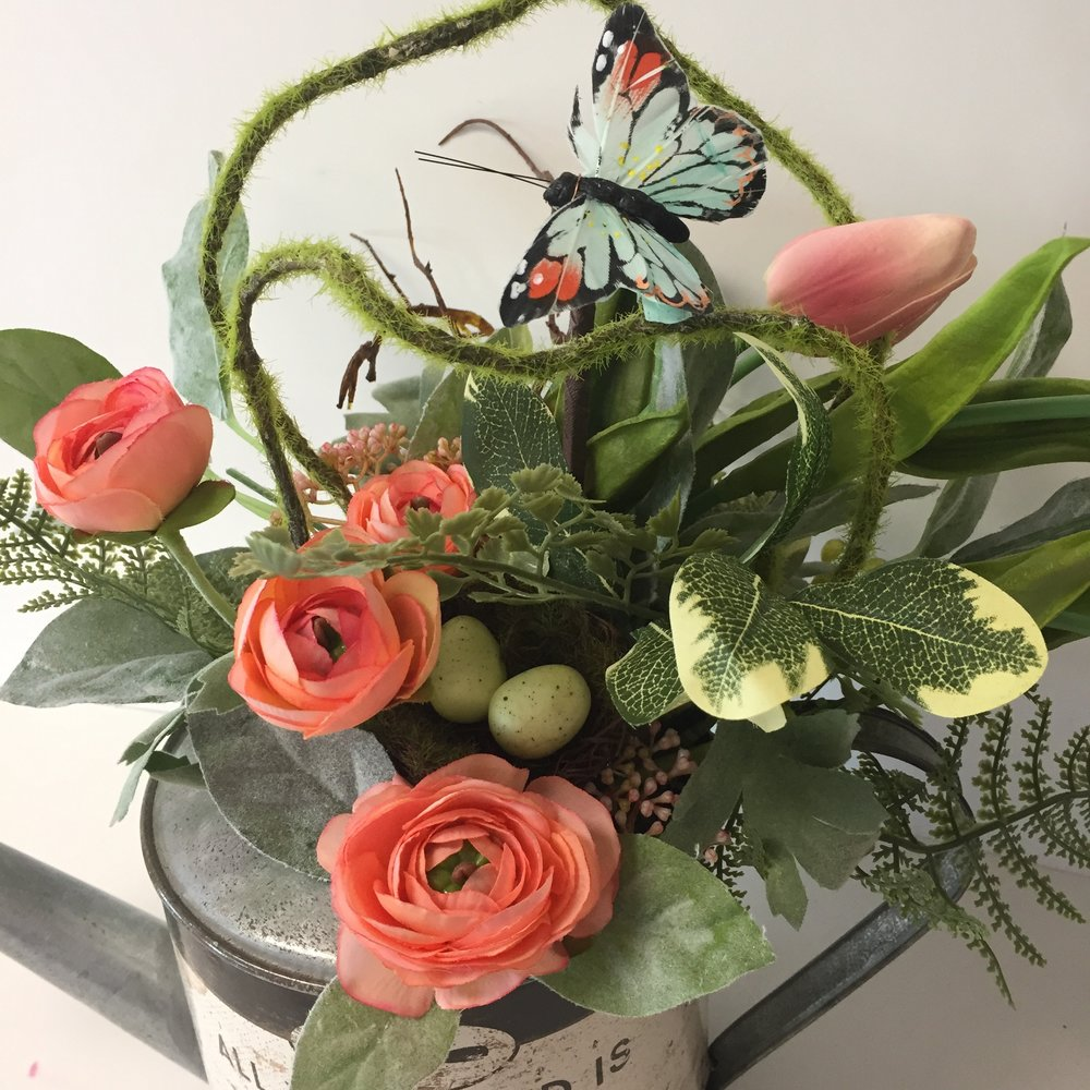 Silk lavender blue floral artistry watering can floral arrangementpeach and green floral arrangementfarmhouse chic home decor mightylinksfo