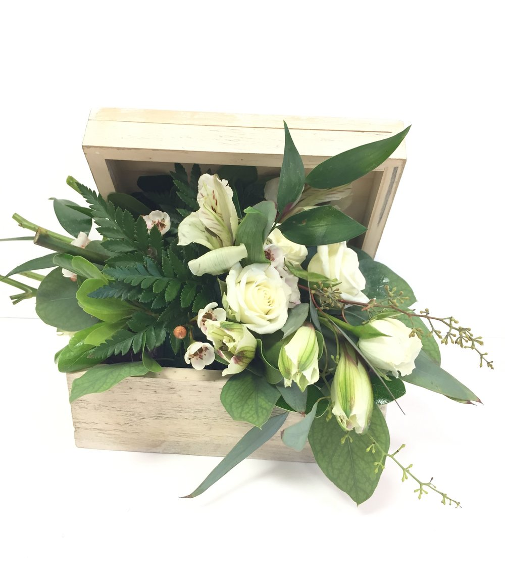 Sympathy lavender blue floral artistry memorial box with fresh flowerssympathy flowerswest des moines delivery angel wings izmirmasajfo