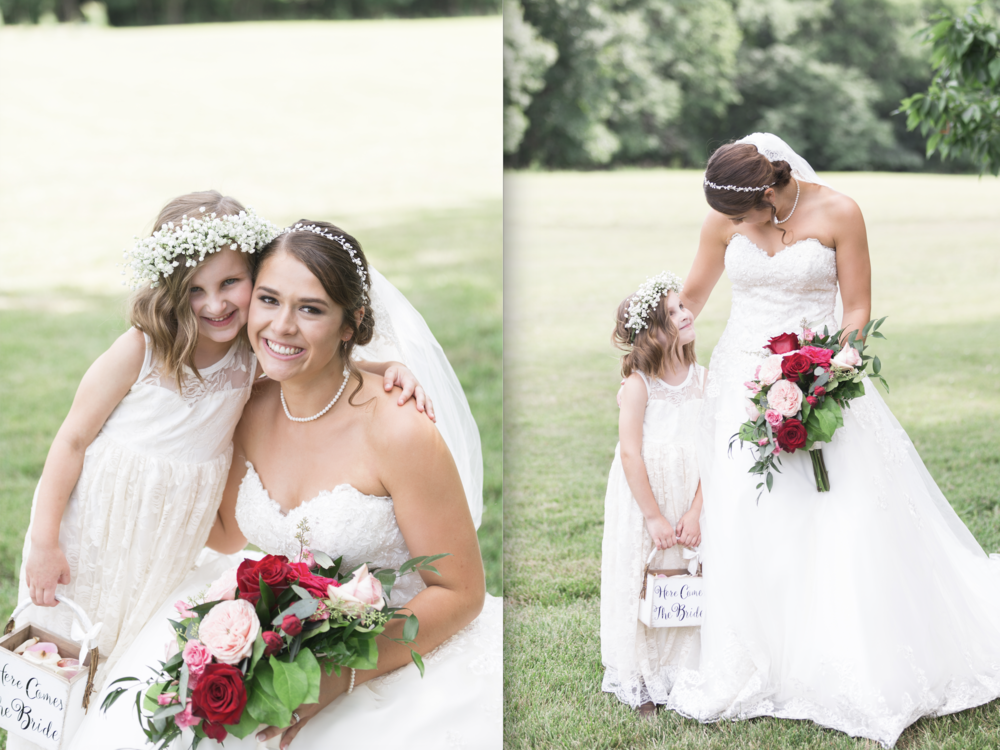 des moines wedding florists Lavender Blue Floral Designs // bride with her flower girl and flower bouquet