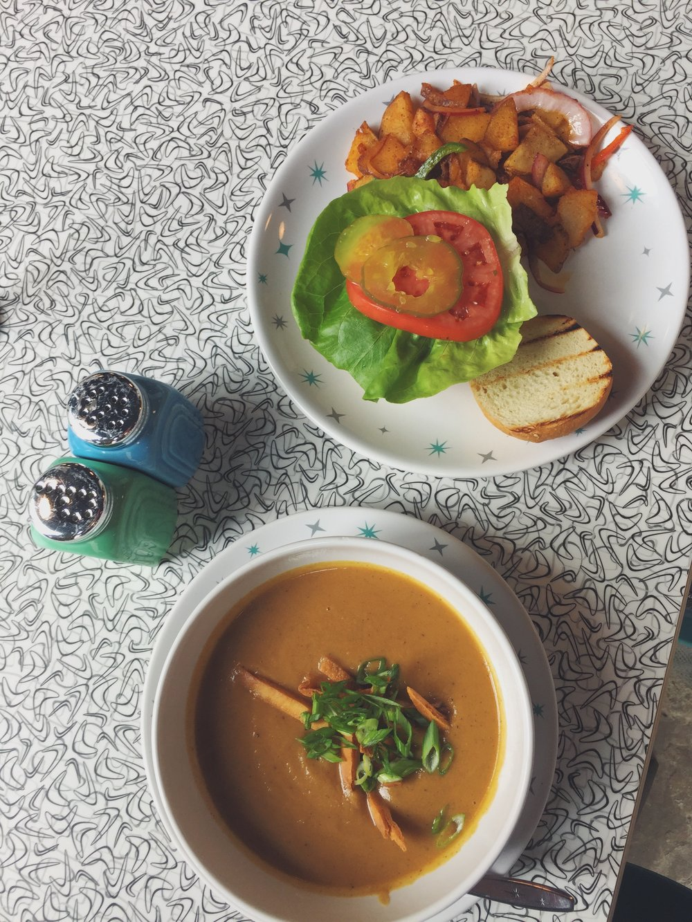 Cauliflower Curry Soup and A Veggie Burger with Hashbrowns