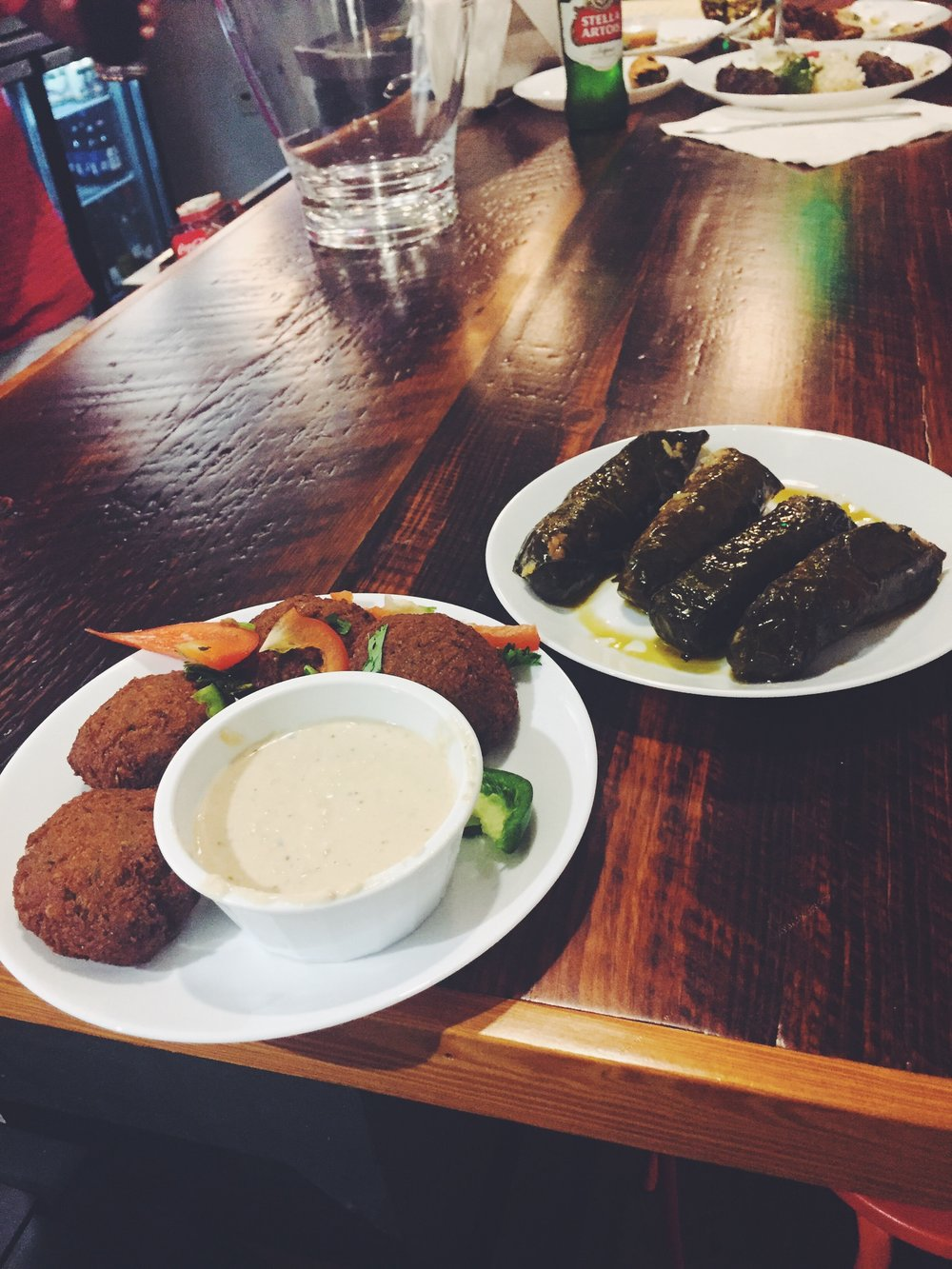 Falafel and stuffed grape leaves.