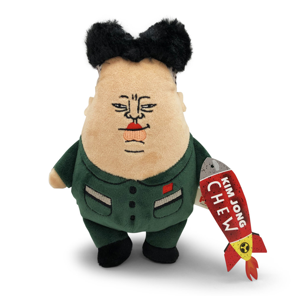 Kim Jong Chew - The second dumb idea for a dog toy turned into a real life best seller on Amazon. Your dog will love to tear apart a the plush version of fascist regime figurehead.