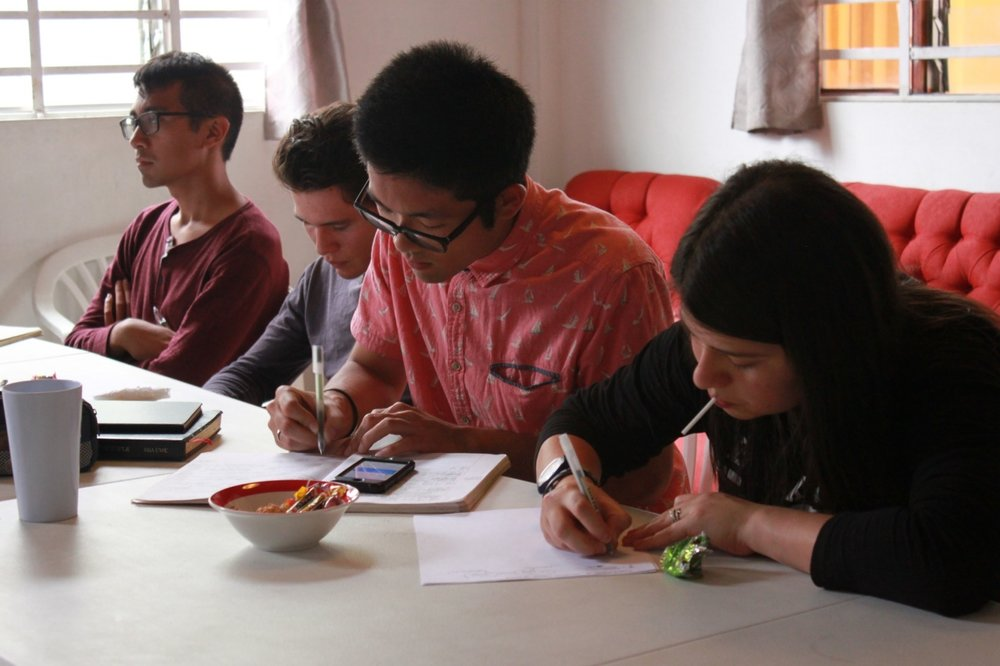 Jeff(left with glasses) and Taishi(right with glasses) with their guests during the 2 day Divine Principle workshop.