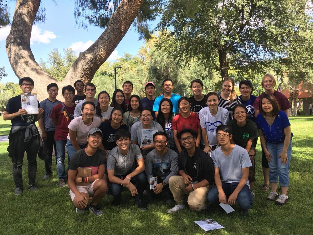 Cheon Il Guk Missionaries with CARP Las Vegas Members on UNLV campus, beginning their first hour of witnessing and outreach training, right before they split off!