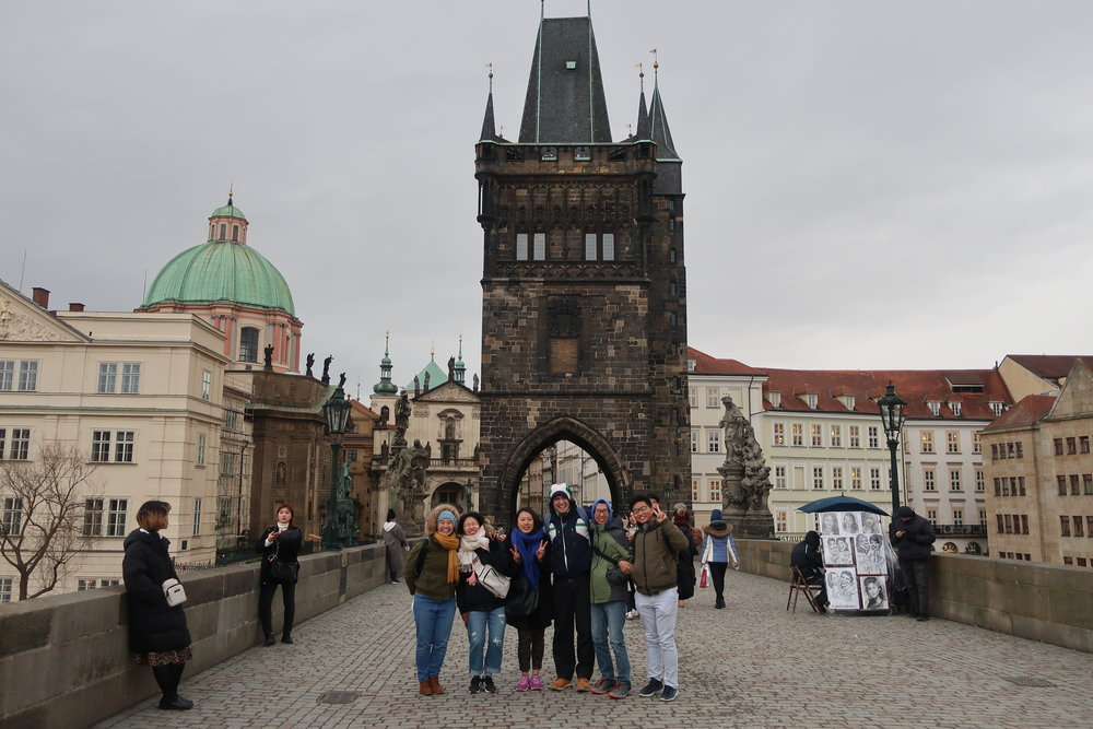 Czech Team with Korean Missionaries Touring Prague