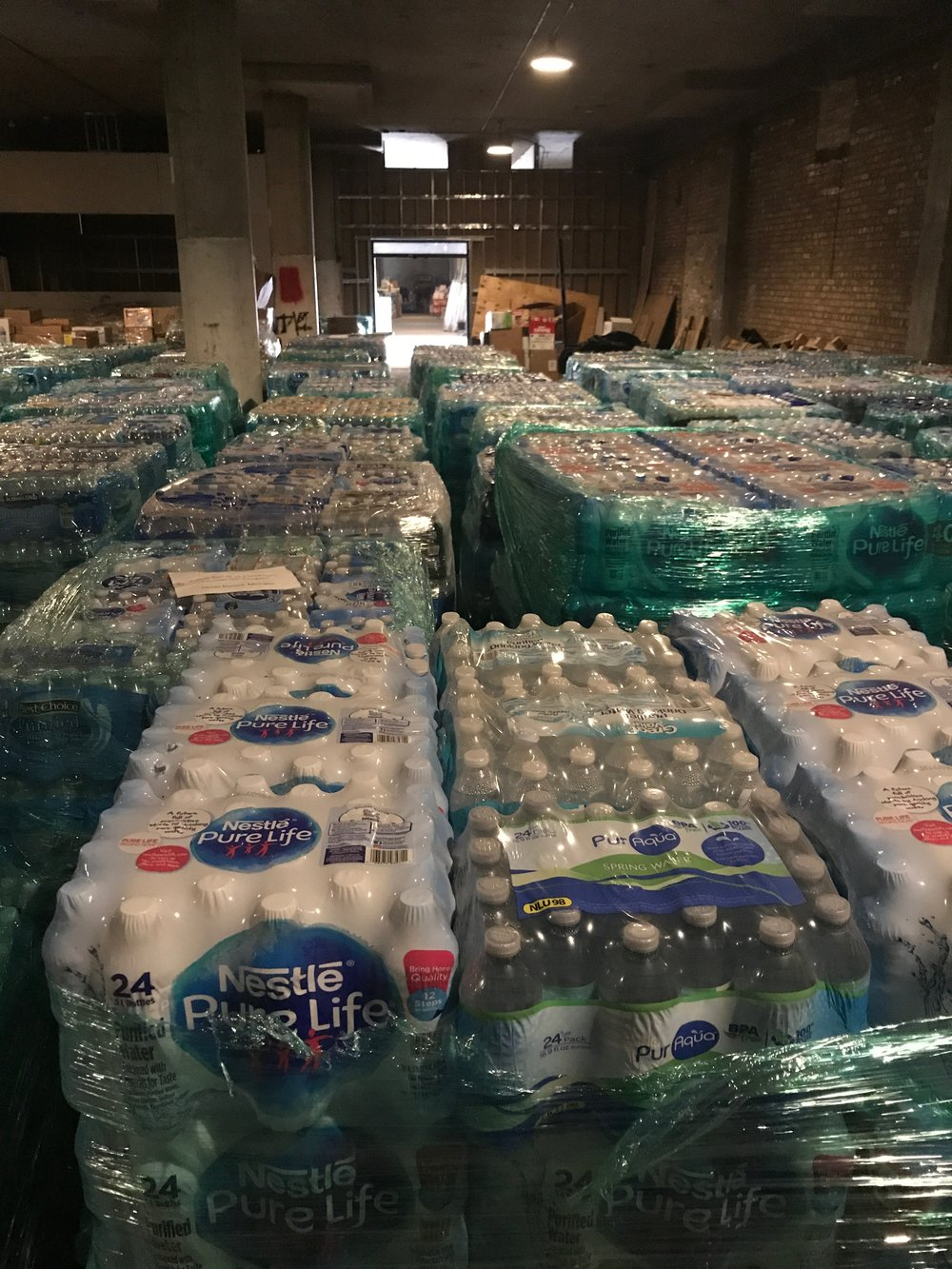 This is a portion of the water supply that we shipped to Aguada PR, provided by Grace and Peace Community Church in Chicago. This shipment arrived in Aguada November 6, 2017 for distribution to areas greatly affected by Hurricane Maria.
