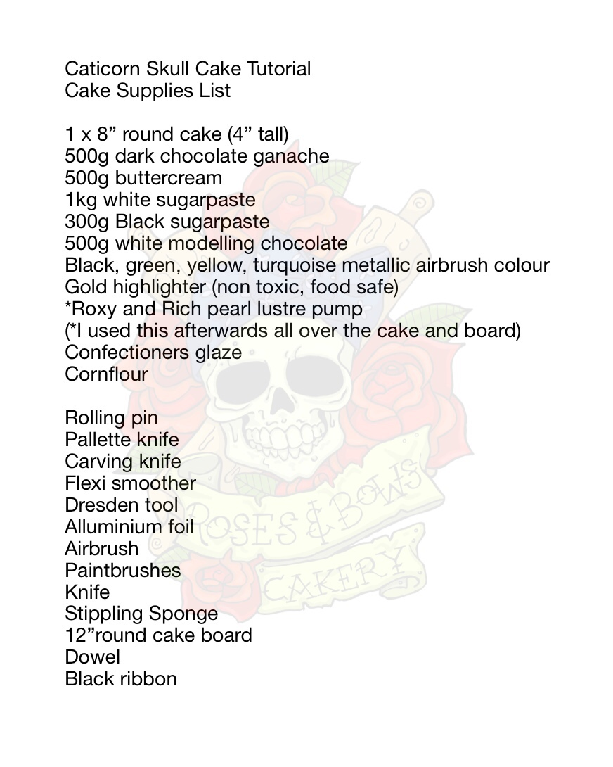 Caticorn Skull Cake Supply List