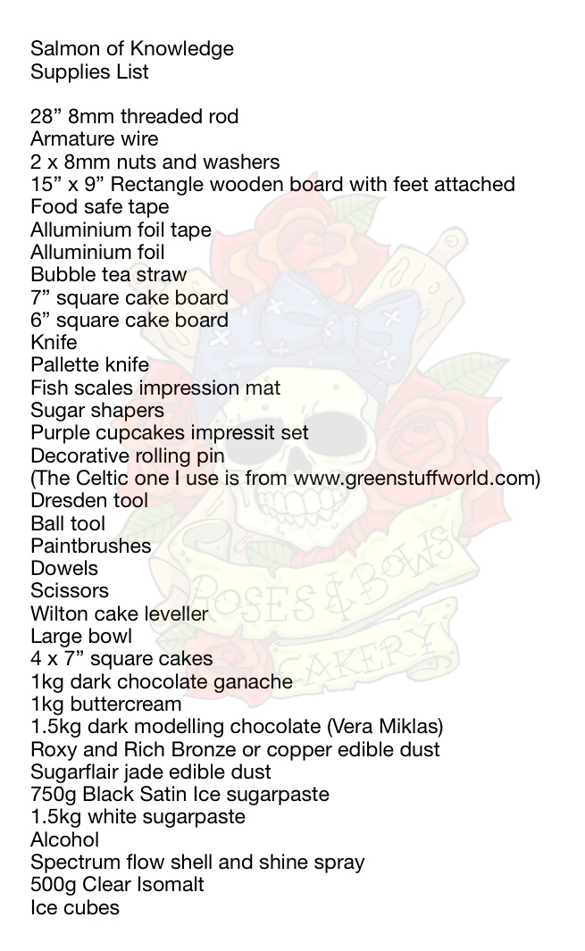 Salmon of Knowledge Supply List