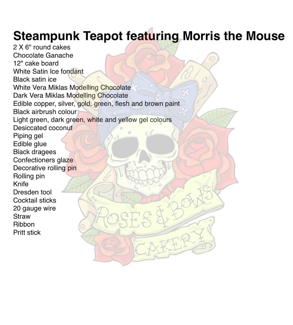 Steampunk Teapot Supply List