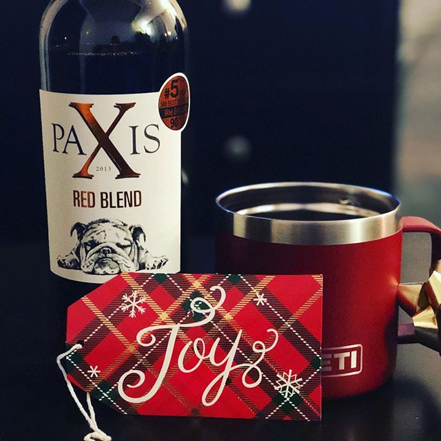 We're celebrating #12daysofwine with a series of wines worthy of any holiday! Fifth, Paxis Red Blend is a well balanced blend! Deep cherry and raspberry flavors and a soft touch of vanilla throughout. If you can't give someone a puppy for the holidays, give them wine!