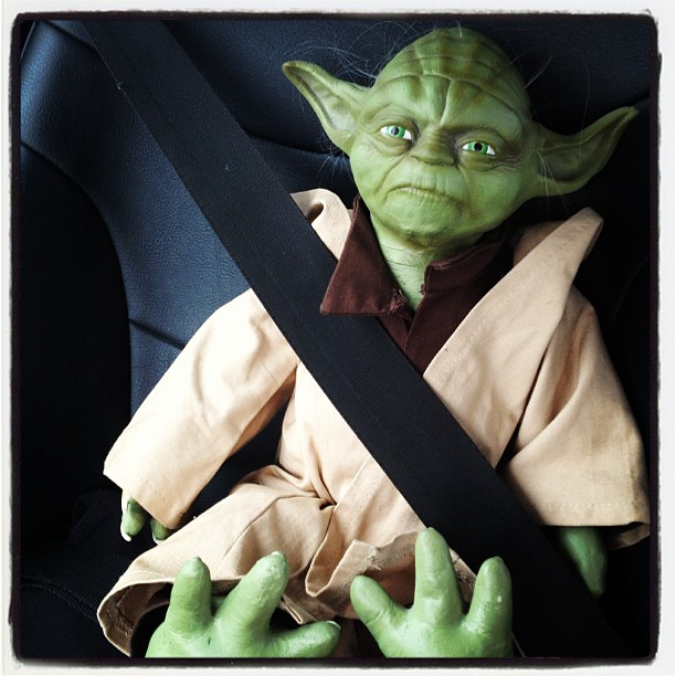 """""""Ride home with you I do or do not there is no try."""" Yoda uses the Mini force to free him from the thrift store. A perfect NERDY Valentine. 12 Feb 2013~ copyright~ LGHurcomb"""