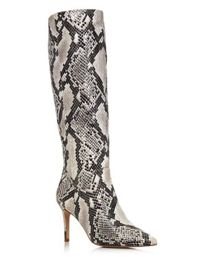 Aqua Women's Lenni Snake-Embossed Leather Tall Boots