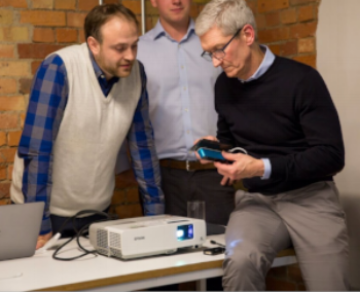 Co-Founder Victor (left) with Tim Cook, showcasing a prototype of 6D technology. The beta will not require an external depth sensor.