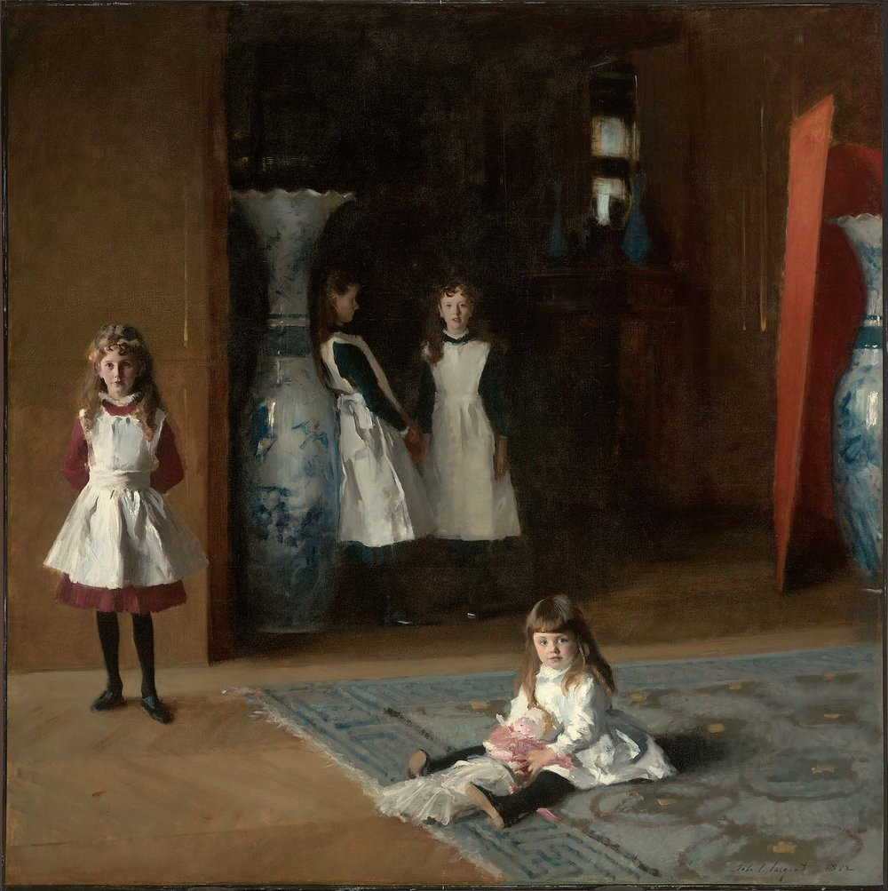 Meghan's Portraits of Time:   Singer Sargent captured the loss of childhood innocence by breaking from conventional portrait structure of families facing the painter and instead capturing these four sisters in different locations. The youngest facing us and the oldest moving into the dark obscurity of adolescence. I love his work and this piece in particular.
