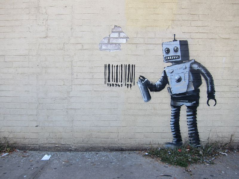 "Ben's Rebels:   I love the thought of a rebellious robot - the idea of technology have more of a human personality appeals to me. This is the 28th installment from Banksy's ""Better Out Than In"" October 2013 New York City residency."
