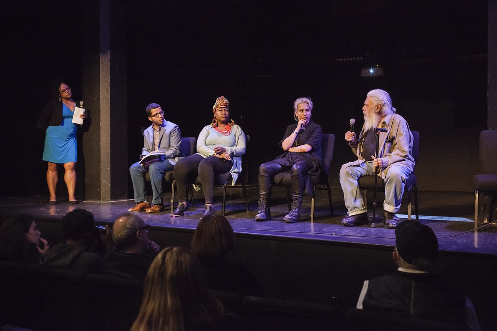 """Group conversation during """"The Autumnal City: Conversations with Samuel R. Delany,"""" presented as a part of Dwell In Other Futures: Art / Urbanism / Midwest. .ZACK, St. Louis. April 27, 2018. From left to right: Rebecca Wanzo, Terrance Wooten, Treasure Shields Redmond, Sophia Al-Maria, Samuel R. Delany. Photo by David Johnson"""