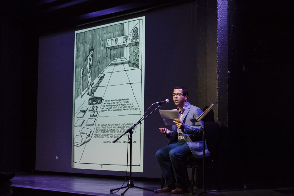 """Terrance Wooten speaking during """"The Autumnal City: Conversations with Samuel R. Delany,"""" presented as a part of Dwell In Other Futures: Art / Urbanism / Midwest. .ZACK, St. Louis. April 27, 2018. Photo by David Johnson"""