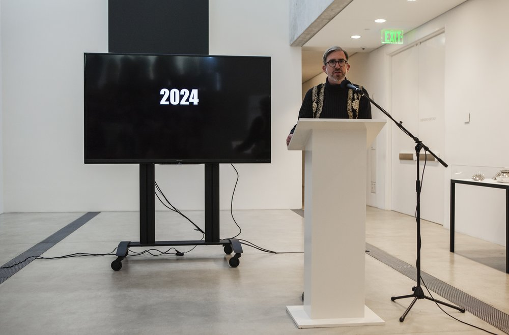 """Michael Allen presenting during """"Manifestos for a Future St. Louis"""" session, as a part of Dwell In Other Futures: Art / Urbanism / Midwest. Pulitzer Arts Foundation, St. Louis. April 28, 2018. Photo by David Johnson."""
