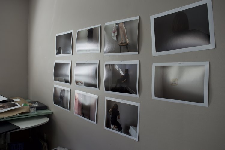 Chrissy's newest series hanging on the wall. Taken in May, 2018.