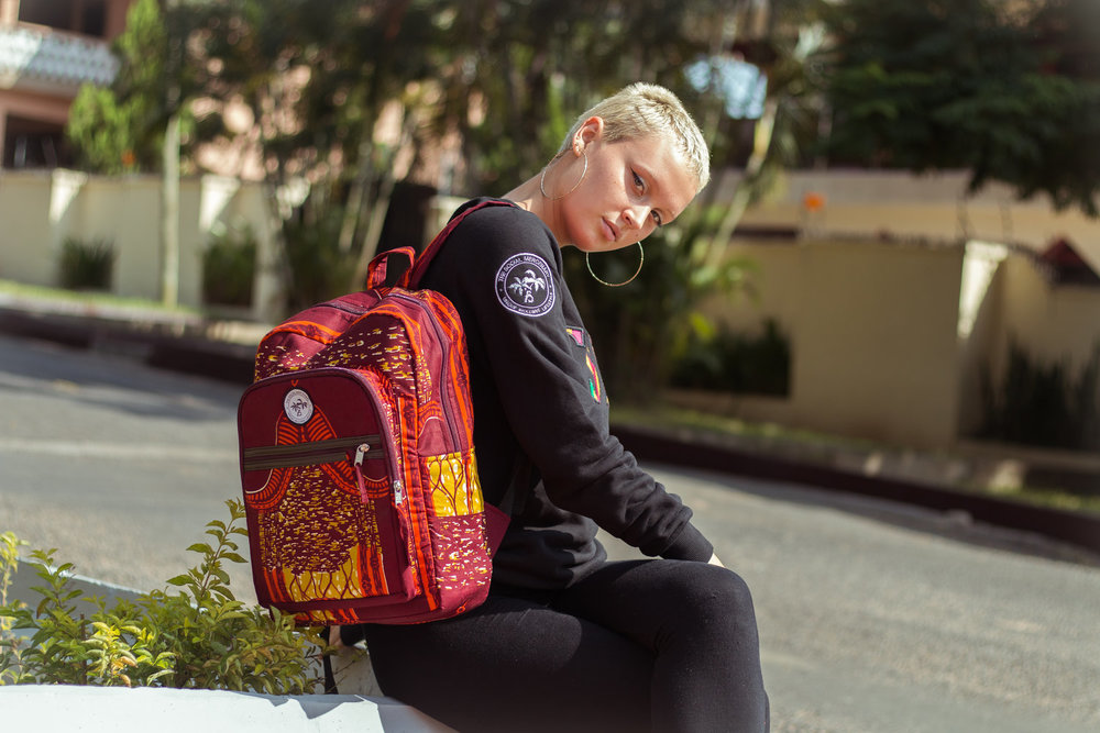 TSM Backpacks - The Social Mercenary has joined forces with Ethical Apparel Africa to bring you these unique bags. Finished with a West African print in an ethical factory in Accra these bags are durable and lightweight.