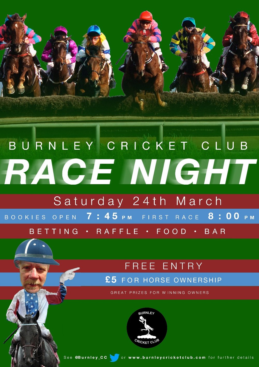 Burnley Cricket Club Race Night Saturday 24th March 2018