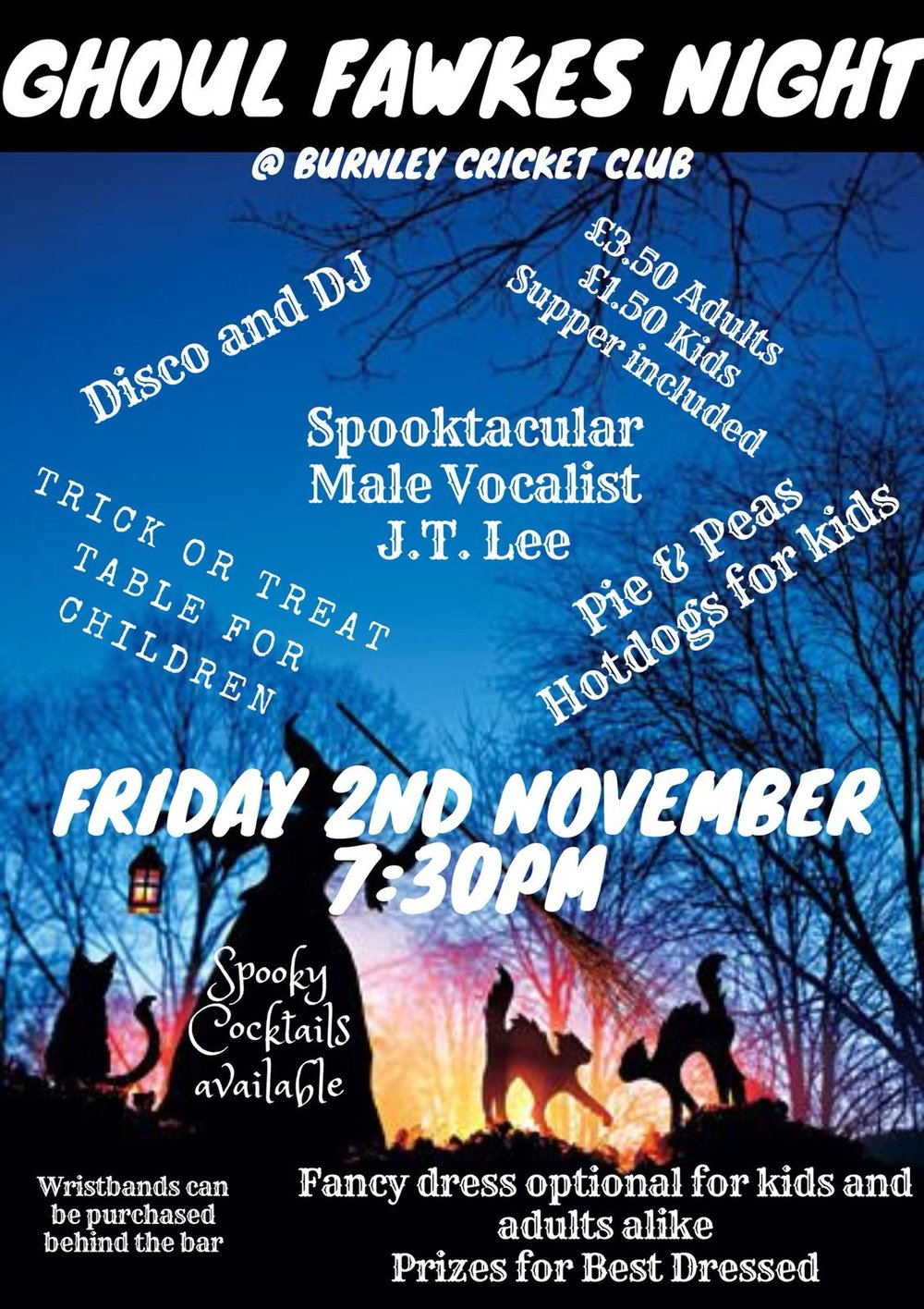 ghoul fawkes party night poster at burnley cricket club
