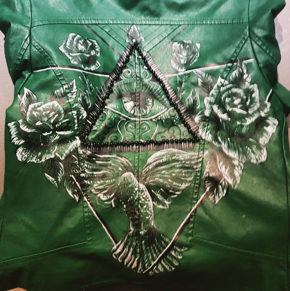 Hand drawn illustration   on fabric - jacket