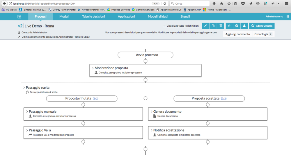 The Step Editor view during the editing of the process definition