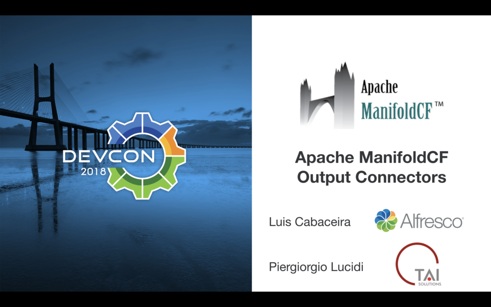 This is just the first slide of our presentation, stay tuned and come to see me and Luis speaking about content migration using Apache ManifoldCF
