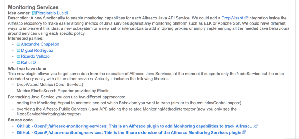 My Alfresco Monitoring Proposal